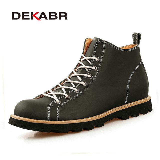 Otoño Invierno hombre Botas de Cuero Dividida Zapatos de Trabajo Botas de Nieve Botines de Moda de Marca de Alta Calidad de La Motocicleta Tamaño 38-44