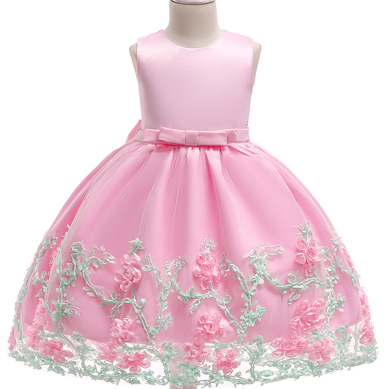 Lace Flower Formal Evening Gown Flower Wedding Princess Dress Girls Children Clothing Kids Dresses for Girl Clothes Tutu Party 2016 spring winter baby flower girls lace wedding evening party tutu dresses children princess prom dress kids girl clothes
