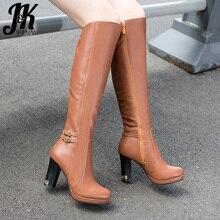 JK High Heels Pu Women Boots Round Toe Zip Footwear Knee High Ladies Boot Platform Casual Shoes Woman 2018 Winter Plus Size 43