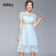 Women Dresses 2019 Summer New Fashion Office Lady Elegant Lace Hollow Out Solid Blue Short Sleeve Slimming O-Neck A-Line Dress