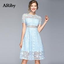 купить Women Dresses 2019 Summer New Fashion Office Lady Elegant Lace Hollow Out Solid Blue Short Sleeve Slimming O-Neck A-Line Dress дешево