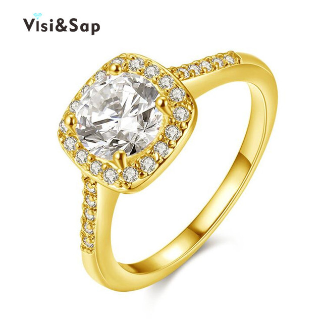 Visisap Yellow Gold color ring AAA cubic zirconia Vintage engagement Wedding Rings For Women fashion Jewelry LOVERS Gifts VSR191