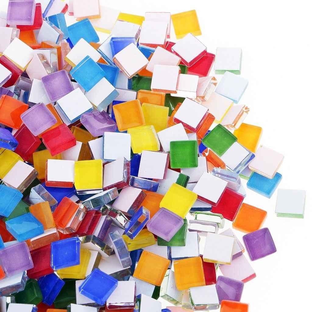 Mosaico de cristal cuadrado transparente, surtido de 100g, para manualidades DIY, mosaico de piedra, fabricación de 10x10mm, mosaico de azulejos