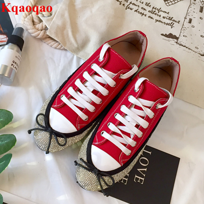 Round Toe Denim Women Casual Shoes Low Top Sneakers Butterfly Knot Decor Crystal Embellished Shoes Front Lace Up Hot Brand Shoes blue off the shoulder lace up front denim crop top