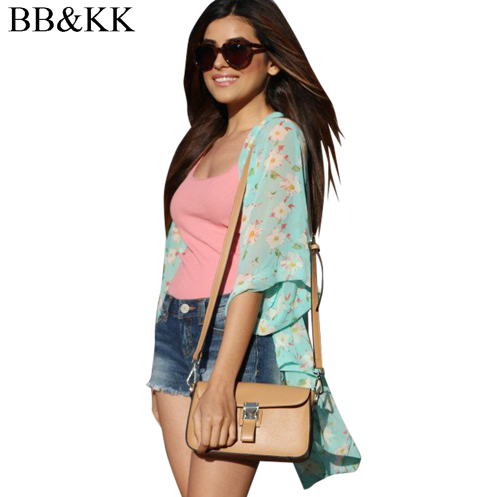 Summer Women Floral Loose Shawl Kimono Cardigan Floral Print Plus Size Clothing Long Blouses Three Colors