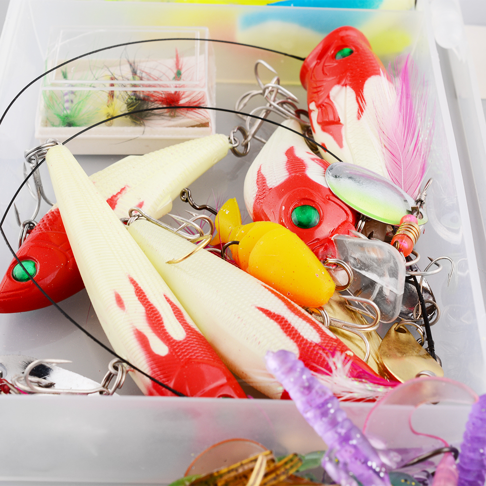 Good deal 100Pcs Fishing Lures Set Hard Soft Bait Minnow A Variety Of Tackle Bass Swimbait Crankbaits Box New Multiple Colors