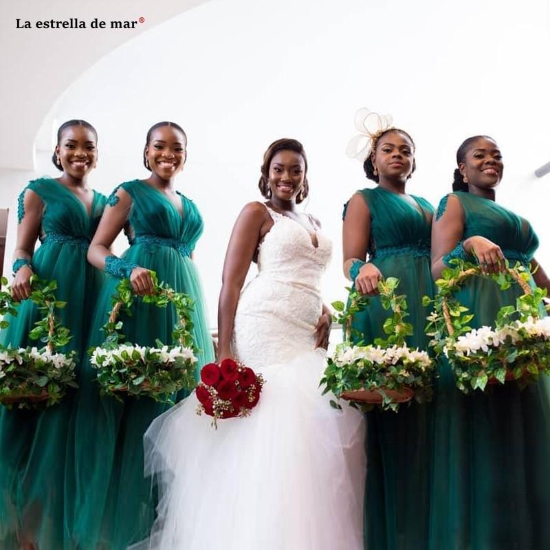 Robe demoiselle d'honneur pour femme new tulle applique beaded long sleeve A Line dark green wedding guest dress long vestido ma