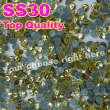 Top Quality Lt.yellow ss30 2gross/bag Jonquil Hot Fix Rhinestone,More Shiny,More Brigst hotfix stones ,With glue