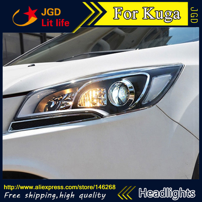 Free shipping ! Car styling LED HID Rio LED headlights Head Lamp case for Ford Kuga 2013 Bi-Xenon Lens low beam