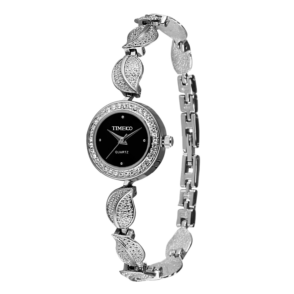 Time100 Women Watches Quartz Watch Stainless Steel Leaf Bracelet Ladies Dress Casual Wrist Watches relogios femininos time100 fashion women s watches simulated ceramic diamond ladies quartz watch dress casual bracelet watches relogios femininos