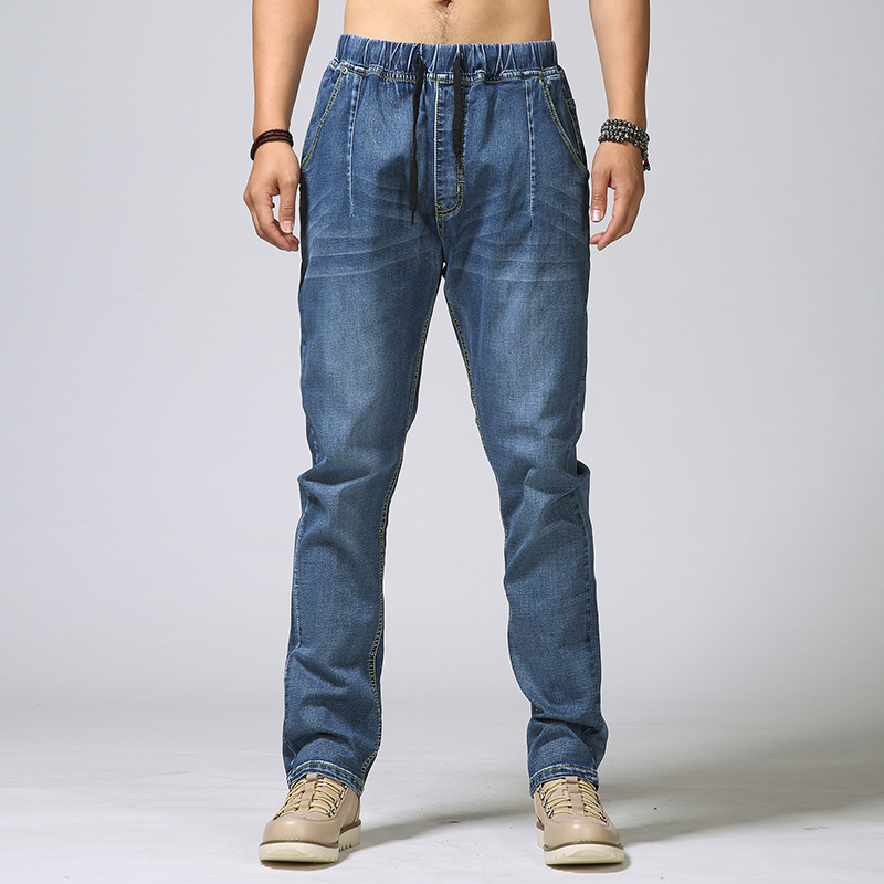 Spring and summer hiphop plus size male denim trousers waist elastic jeans 6XL 5XL 4XL 3XL 2XL new spring and summer mens brand mid waist jeans pants plus size male denim trousers men casual jeans s39