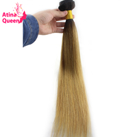 Atina Queen 1B27 Straight Brazilian Hair Weave Bundles Two Tone Dark Roots Honey Blonde Ombre Human