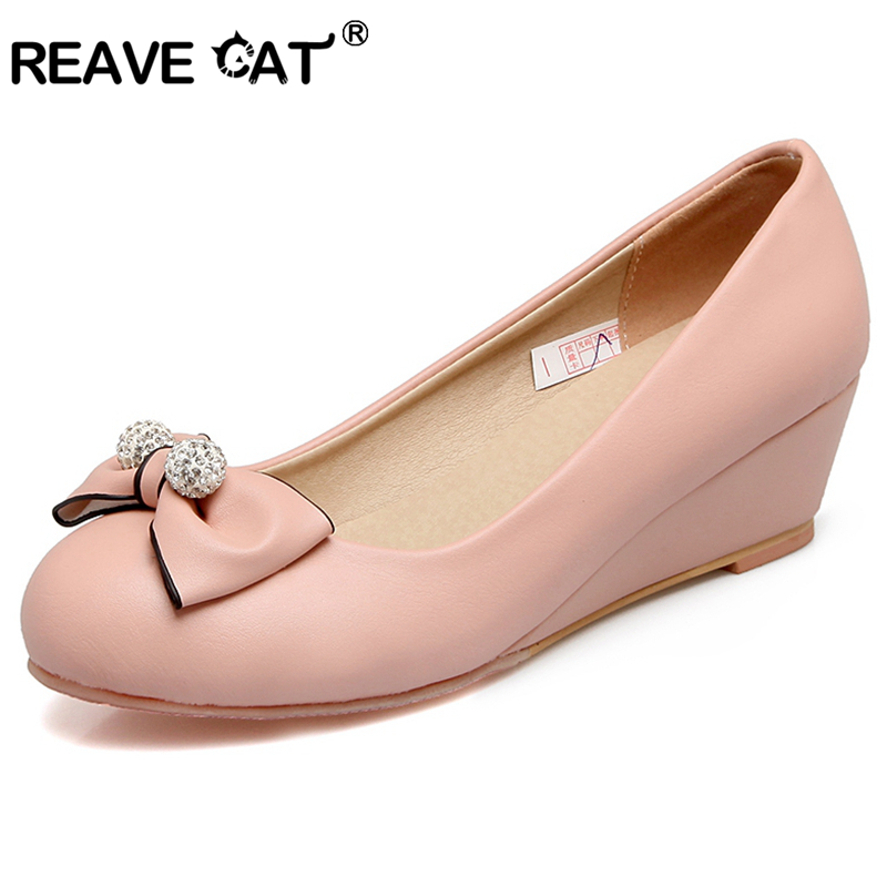 3943a3723d63 REAVE CAT Shoes women Low heels Ladies pumps Wedges Bow Rhinestone Glitter  Fashion Cute Big size Spring summer shoese RL3523