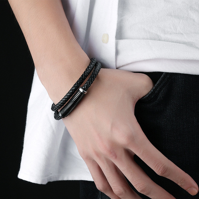 Купить модные черные кожаные мужские браслеты серебряного цвета из