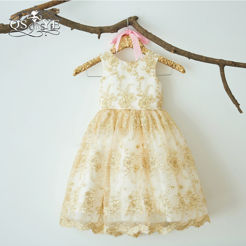 QSYYE Lovely   Flower     Girl     Dresses   Puffy Ball Gown Gold Lace Flowr   Girl     Dress   O-Neck Sleeveless Knee Length   Girl   Prom Pageant Gown