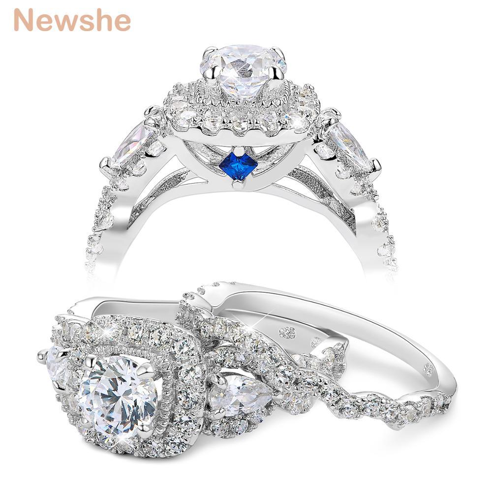 Newshe 2 Pcs Halo 925 סטרלינג כסף חתונת טבעות לנשים 1.5 Ct עגול אגס לחתוך AAA CZ תכשיטים קלאסיים אירוסין טבעת סט
