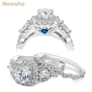Image 1 - Newshe 2 Pcs Halo 925 Sterling Silver Wedding Rings For Women 1.5 Ct Round Pear Cut AAA CZ Classic Jewelry Engagement Ring Set