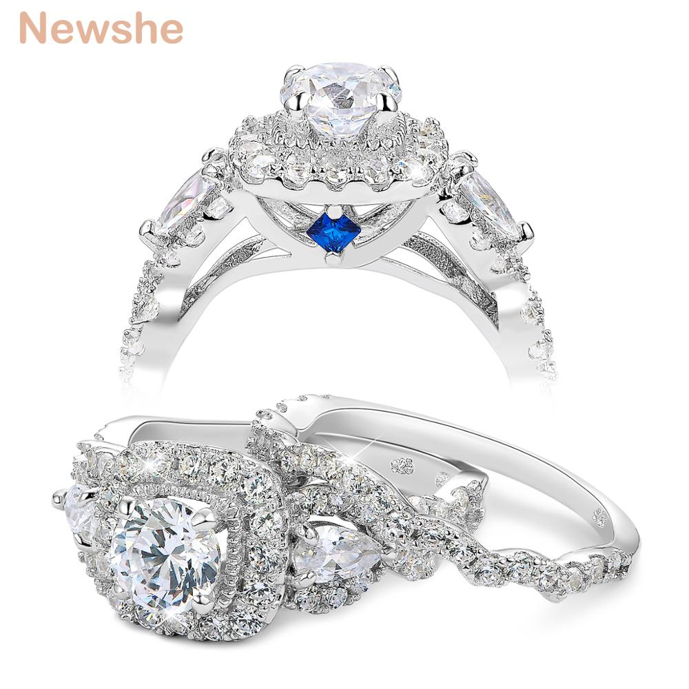 Newshe 2 Pcs Halo 925 Sterling Silver Wedding Rings Untuk Wanita 1.5 Ct Putaran pear Cut AAA CZ Klasik Perhiasan Engagement ...