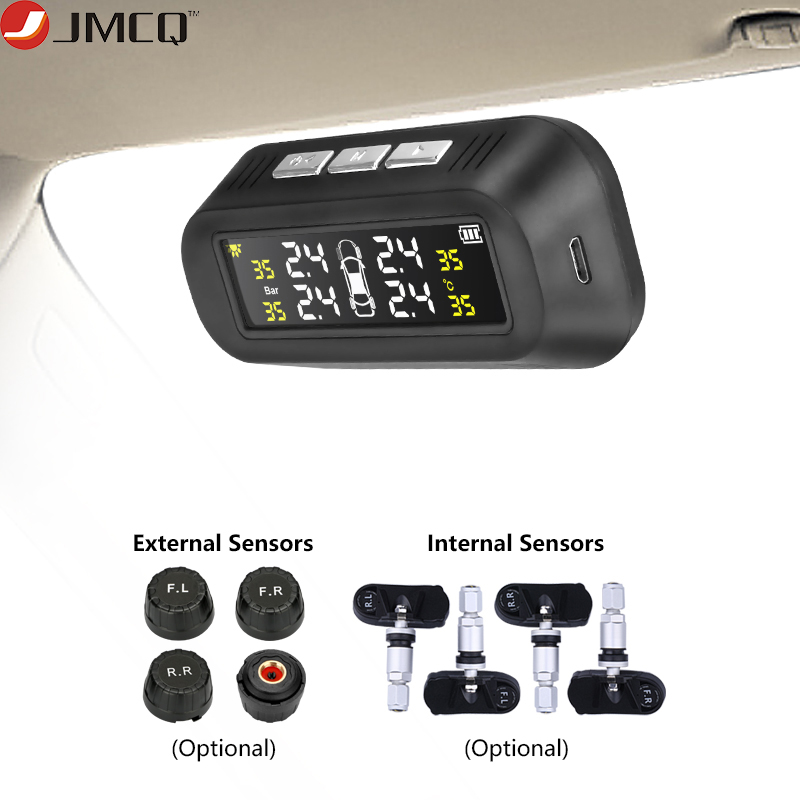 JMCQ Solar TPMS Car Tire Pressure Alarm Monitor System Display Attached to glass tpms Temperature Warning + 4 sensors for MV