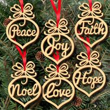6Pcs Christmas Decorations Wooden Pendants Snowflake Star Ornaments DIY Party Decoration Xmas Tree Haing