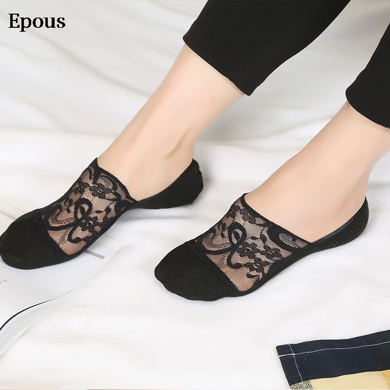 Epous 2019 New Transparent Short Lace Socks Women Summer Hollow Out Boat Socks Slippers Female Soft Low Invisible Socks Ped