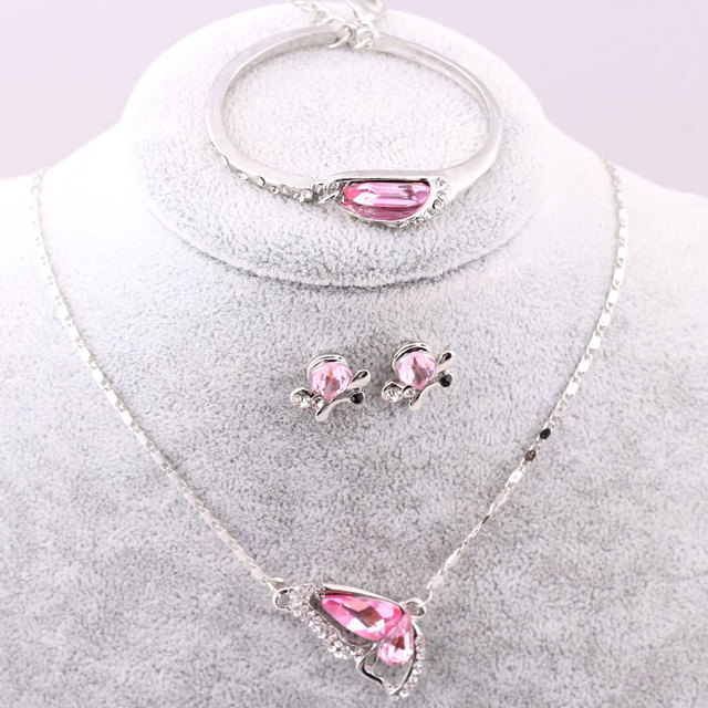 Sales 2018 New Butterfly Jewelry Sets Necklace + Earring+Bracelet Crystal Set Fashion Jewelry 3