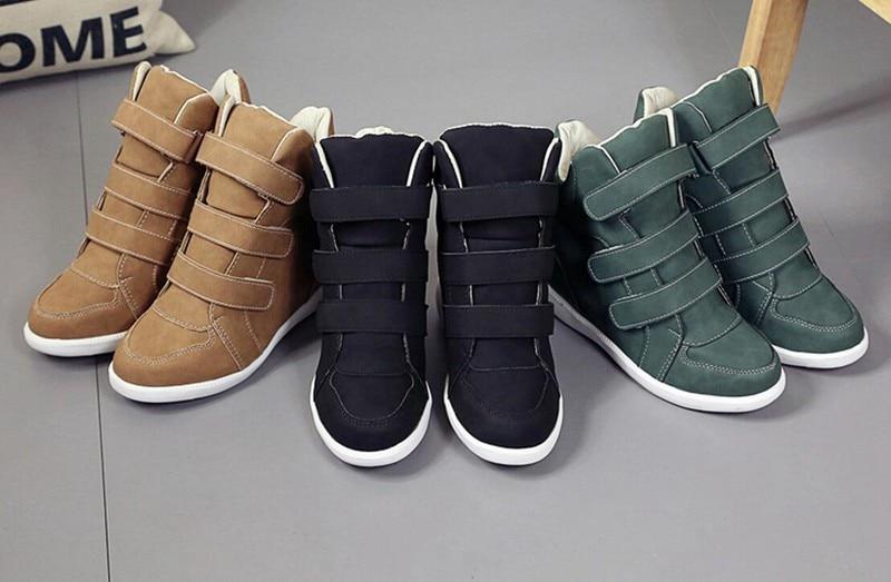 marron Marque Bottes Compensées Noir Noir vert Cootelili Cheville Femme Talons Chaussures Hiver Plat Sneakers Casual Cuir Femmes Mode En Haute vWq4fwUp