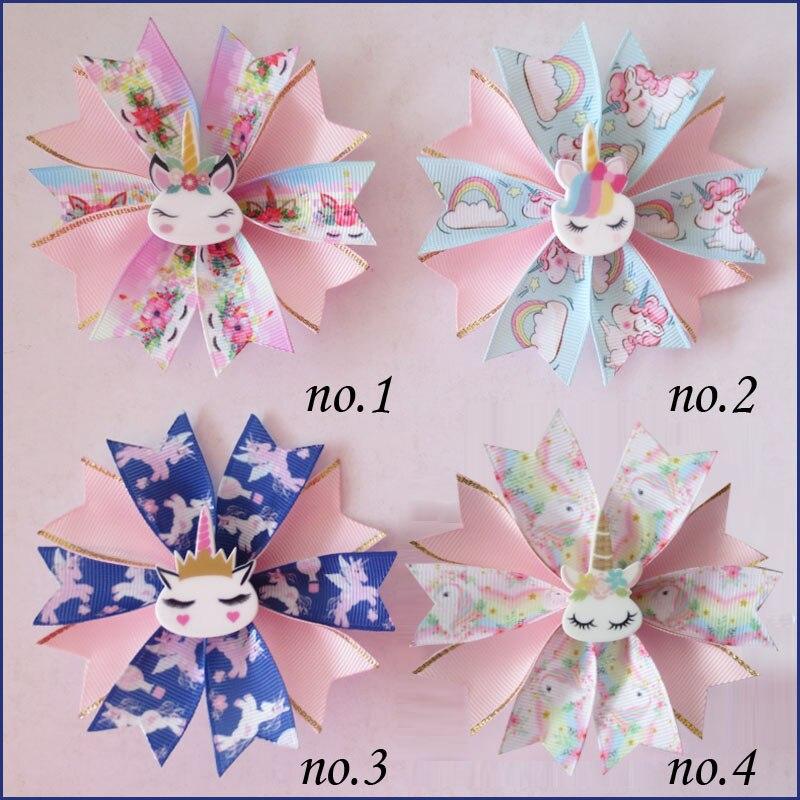 """100 BLESSING Girl Popular 3.5/"""" Fairy Hair Bow Clip Unicorn Rainbow Flower Baby"""