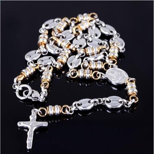 81447531a910 Nueva moda oro plata acero inoxidable hombres rosario collar de cadena 25     + 6