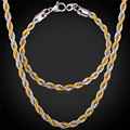 316L Stainless Steel Bracelet Necklace Set Singapore Rope Chains Trendy 5MM Thick Gold Plated Men Jewelry Set GNH1152