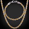 316L de Aço Inoxidável Pulseira Colar Conjunto Singapura Corda Chains Na Moda 5 MM de Espessura Banhado A Ouro Conjunto de Jóias Homens GNH1152