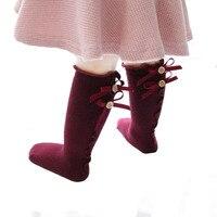 Милые Демисезонный принцессы для девочек Дышащие носки хлопок бантом одежда для малышей до колена длинные носки теплые 4 Цвета для 0-3 лет