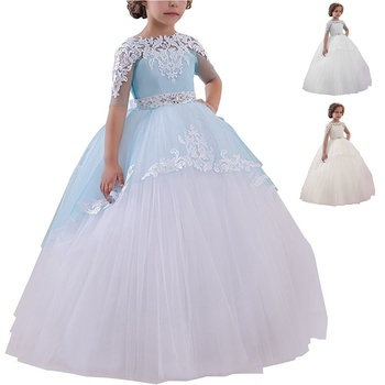 Short Sleeve Flower Girl's Dresses Lace Applique Ruched Bow Sash Low Back Floor Length Girl's Birthday Party Pageant Dress