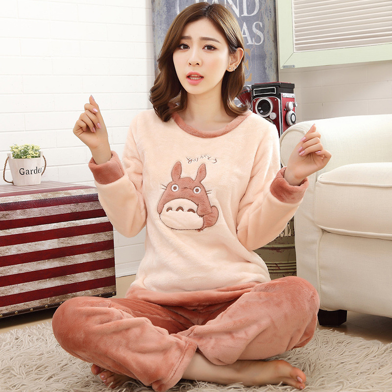 High Quality Women   Pajama     Sets   Winter Soft Thicken Cute Cartoon Flannel Sleepwear 2 pcs/  Set   Tops + Warm Pants Home Clothes Mujer