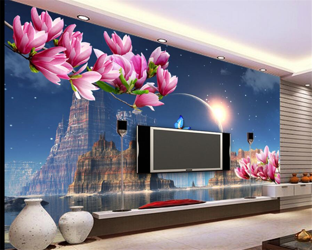 Beibehang wall paper home decor Dream Castle Planet Butterfly Magnolia Reflection Video Background wallpaper for living room