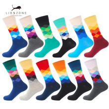 LIONZONE 12Pairs/Lot Men Funny Muti Colorful Combed Cotton Dozen Casual Happy Socks