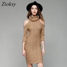 Zioksy Autumn Turtleneck Women Elastic Knitted Dress Sexy Slim Solid Color Elegant Off Shoulder Bodycon Sweater Dress