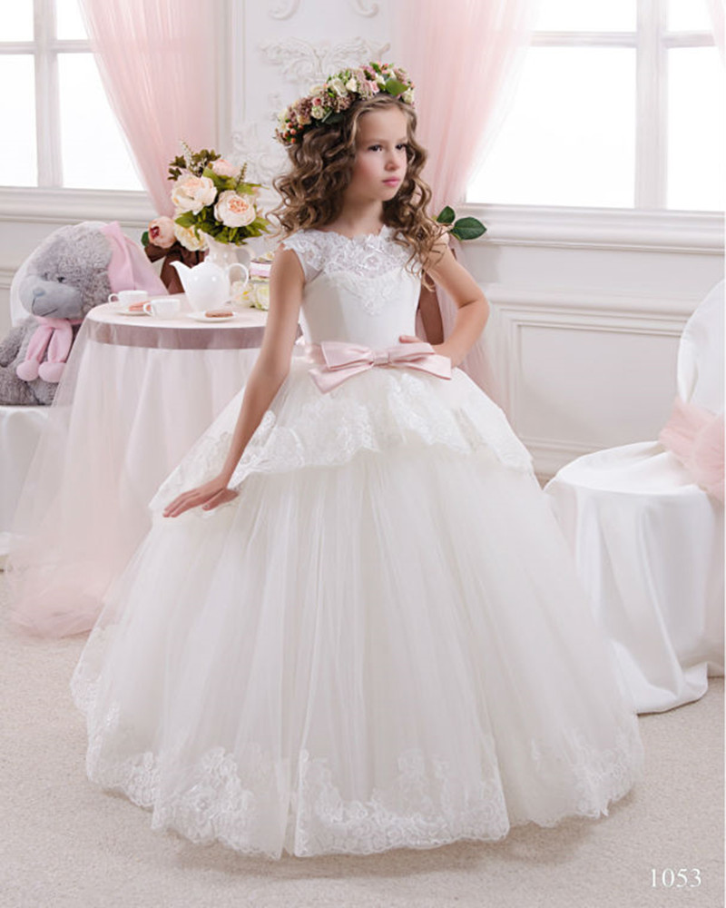 Elegant First Communion   Dresses   For   Girls   Ball Gown White Lace Bow   Flower     Girl     Dresses   For Weddings Kids Evening Gowns