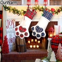 цена на OurWarm Plaid Christmas Stocking Gift Bags Pet Dog Cat Paw Stocking Socks Xmas Tree Hanging Ornaments New Year Gift Holder