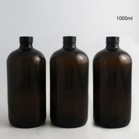 100PCS 33Oz 1000ml Deep Amber Boston Round Glass Liquid Bottle With Phenolic Cone Cap 1000cc Glass
