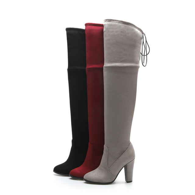 MORAZORA Spring autumn over the knee boots spuer heels shoes elegant contracted women boots ribbon solid big size 34-46