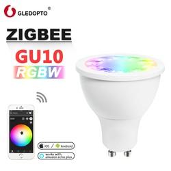 Rgb gu10 punto de luz rgbw rgb cct gu10 foco zigbee zll 5 W AC100-240V led APP controlador trabajo con Amazon Echo plus