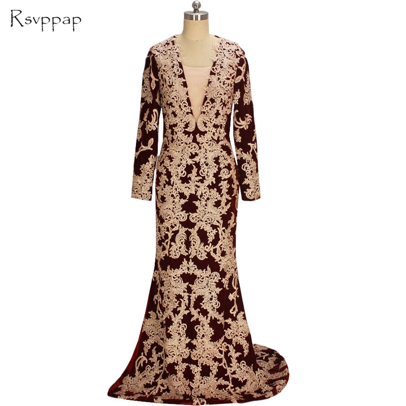 Long Evening Dress 2017 Mermaid Long Sleeve Women Formal Gowns Backless Lace High Slit Burgundy Arabic Evening Gowns Dresses
