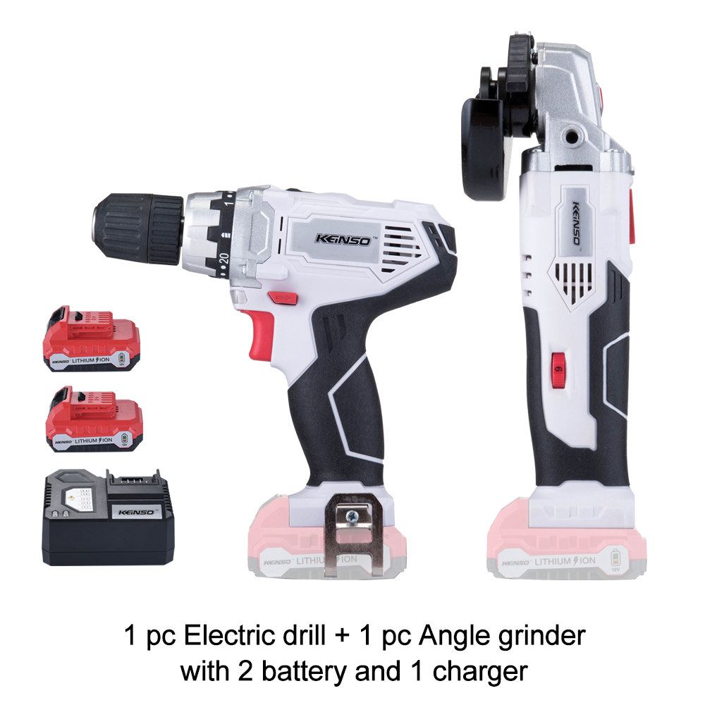 2-Piece KEINSO 12-Volt Lithium-Ion Cordless Power Tool Combo Kit Angle grinder/Drill Combination with 2 Batteries and 1 charger drill buddy cordless dust collector with laser level and bubble vial diy tool new