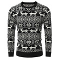 2016 O-Neck Sweaters Stylish Deer Printing Pattern Knitted Sweater Men Long Sleeve Black Sweater Pullover Sweaters Male XXL