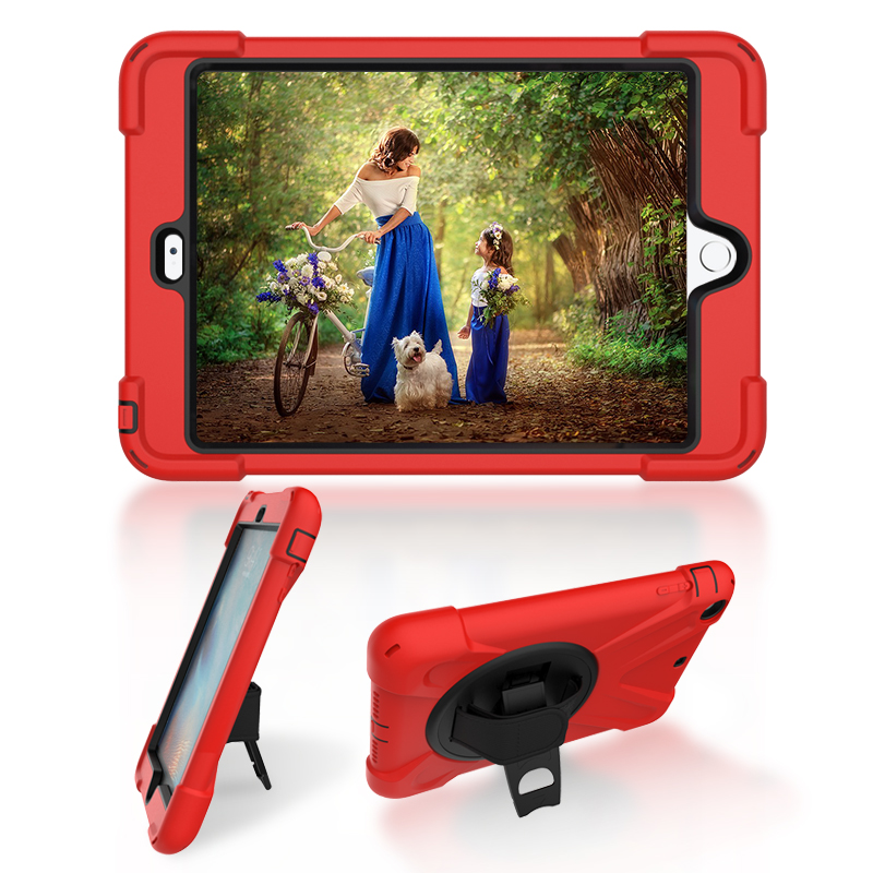 For iPad Mini 2 / 3 Shockproof Kids Protector Case For Mini2 / Mini3 Heavy Duty Silicone Hard Cover kickstand design Hand bracel