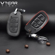 Vtear For Hyundai creta ix25 car Key Case cover Leather car keychain protection Shell Interior Parts accessories 2017 2018 2019(China)