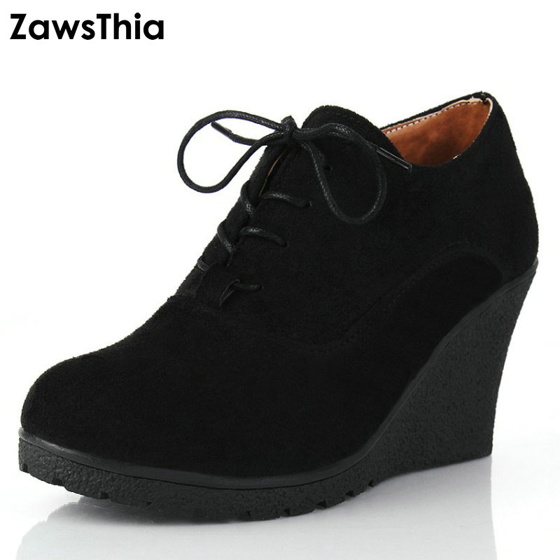 ZawsThia Brand High Heel Wedges Shoes Platform Pumps Women Lace up Leisure Casual Shoes Sexy Women Shoes Fall Winter Sexy Pumps yaquicka carbon fiber style 4x car interior door side panel cover strips trim for land rover discovery 5 2017 car styling covers