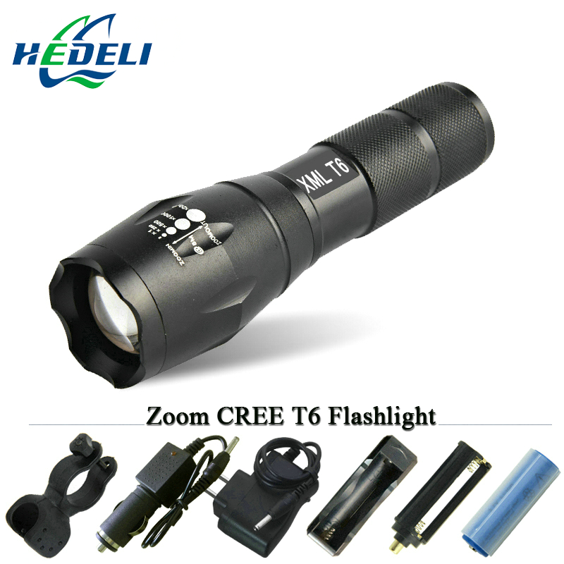 led Flashlight LED CREE XM-L T6 Torch lanterna Zoomable Waterproof Hand Light 3000 lumens   AAA OR 18650 rechargeable battery new 2016 practical 3000 lumens high power led torch cree t6 led flashlight zoomable torch light camp 5 modes tactical flashlight
