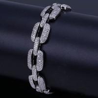 8 Inch Hip Hop Horseshoe Men Bracelet Silver/Gold Iced Out AAA CZ Cubic Zirconia Chain Bling Crystal Bracelet Women 20.5cm